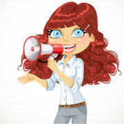 Cute curly haired girl speaks in a megaphone isolated on white background