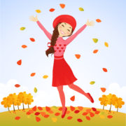 Cute girl jumping in fall meadow with leaves