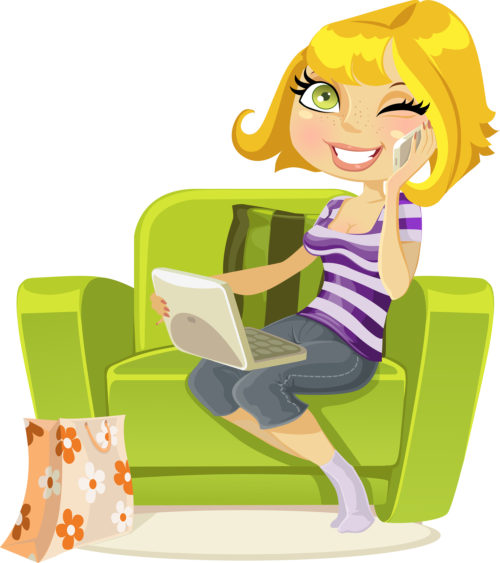 blonde sitting in a chair with a laptop and talking on the phone