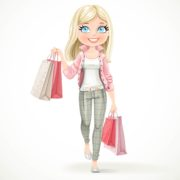Cute blond shopaholic girl goes with paper bags isolated on a white background